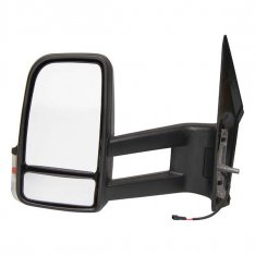 N/S Mirror – LONG arm, Manual, Black with Indicator
